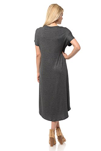 Solid Midi Short A luxe Women's Line Dress Charcoal Print Floral Sleeve iconic and wqAZOfc