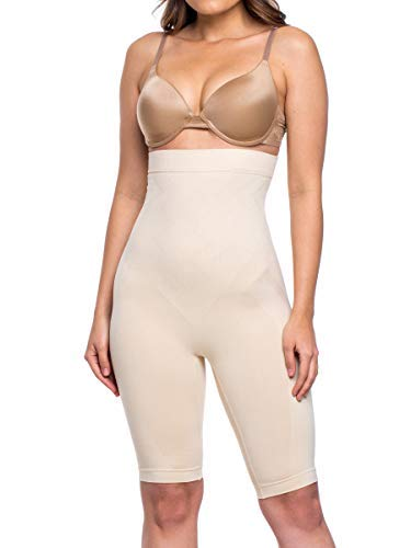 Miorre Women's Shapewear Seamless High Waist Long Leg Thigh Slimmer Tummy Control Body Shaper Nude ()