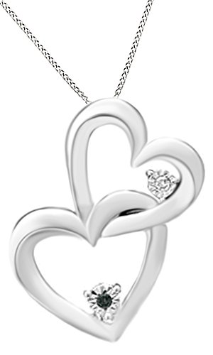 Enhanced Black & White Natural Diamond Accent Interlocking Hearts Pendant In 14K White Gold Over Sterling Silver 14k White Gold Diamond Interlocking