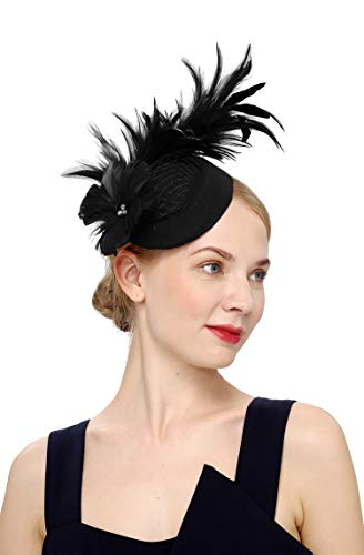 Cizoe Fascinator Hair Clip Pillbox Hat Bowler Feather Flower Veil Wedding Party Hat Tea Hat(4-black)