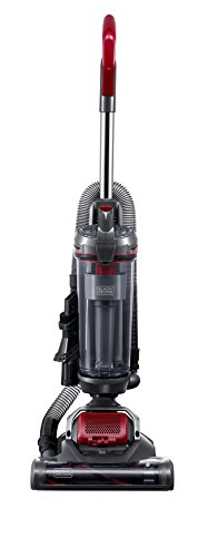 Black & Decker BDASV102 AIRSWIVEL Ultra-Light Weight Upright Cleaner, Versatile Vacuum, Titanium with Monza Red, Lightweight