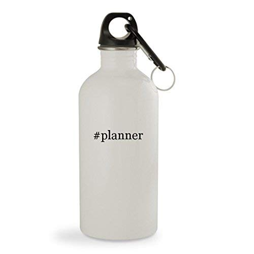 OneMtoss #Planner - 13.5oz Hashtag White Sturdy Stainless Steel Water Bottle with Carabiner ()