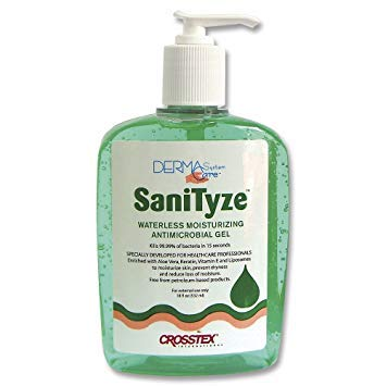 Crosstex JWGP SaniTyze Waterless Moisturizing Antimicrobial Gel, 18 oz. Pump Bottle (Pack of 16) (Waterless Antimicrobial)
