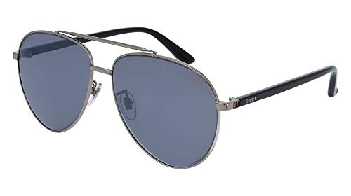 Gucci GG 0043SA 001 Asian Fit Silver Metal Aviator Sunglasses Blue Mirror ()