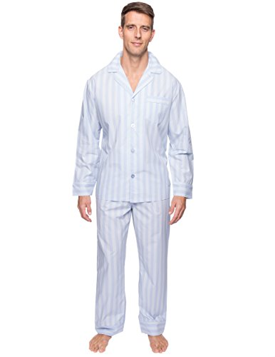 Men's Premium Cotton Woven Pajama Set - Stripes Chambray Blue - 3XL