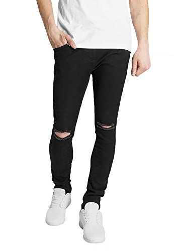 ec3b1ead639 oiin Damler Men's Denim Slim Fit Knee Cut Ripped Damaged Jeans (Black, ...