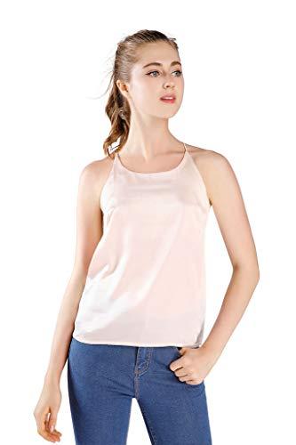 Wantschun Womens Silk Satin Camisole Cami Plain Strappy Vest Top Sleeveless Blouse Tank Shirt US Size XXS ;Champagne