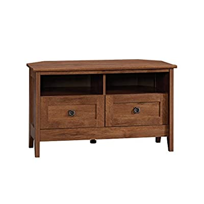 """Sauder August Hill Corner Entertainment Stand, For TV's up to 40"""", Oiled Oak finish - Accommodates up to a 40"""" TV weighing 95 lbs. or less Divided shelving holds audio/video equipment Hidden storage behind simulated drawer fronts/doors - tv-stands, living-room-furniture, living-room - 31Pix2vYVuL. SS400  -"""