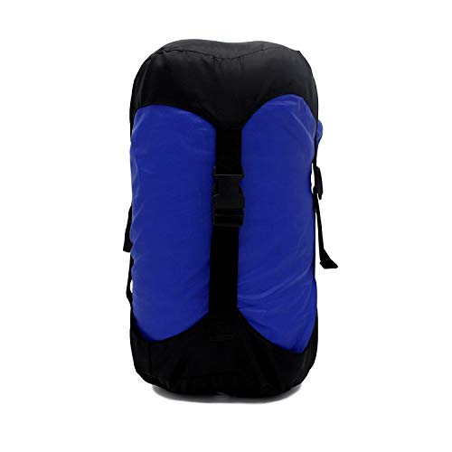 GoBackTrail Compression Stuff Sack - Water Resistant Polyester - Shrinks Bulky Items - Great for Sleeping Bags Clothes Camping Hiking Backpacking (24L Blue/Black)