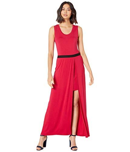 BCBGMAXAZRIA Women's Twofer Knit Maxi Dress Sangria Medium (Bcbgmaxazria Dress Women)