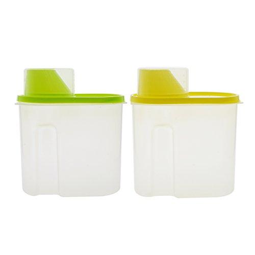 Saim Cereales contenedor con boquilla antigoteo para y protector de la taza de medir de plástico transparente de alimentos...