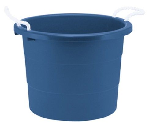 United Solutions TU0034 Blue Ten Gallon Rough and Rugged Tub with Rope Handles - 10 Gallon Plastic Tub and Rope Handles in Blue (Plastic Utility Pail)