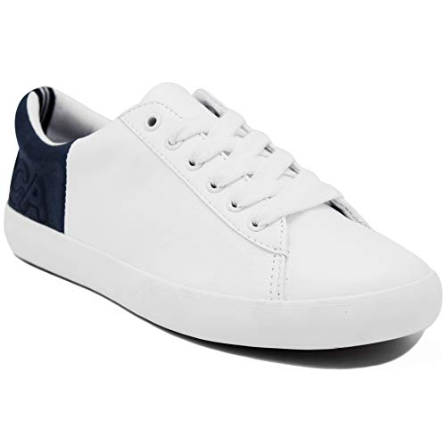Nautica Steam 4 Women Lace-Up Fashion Sneaker Casual Shoes - Jersey Lace Leather Up