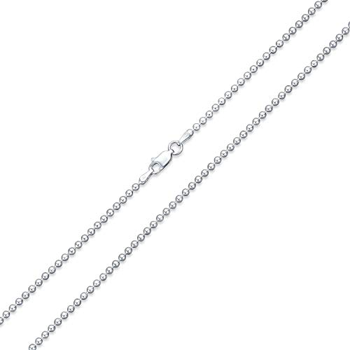 Verona Jewelers 925 Sterling Silver Italian 1.5MM, 2MM Silver Bead Ball Chain Necklace, Sterling Silver Bead Necklace, Silver Ball Necklaces, Italian Bead Necklace, Silver Beaded Necklace (24, 1.5MM)