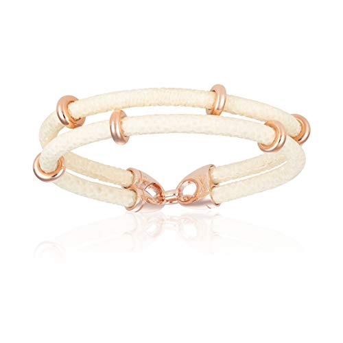 Double Bone Double Stingray Bracelet. Genuine Leather Bracelet with Rose Gold Beads for Men and Women (White, 17)