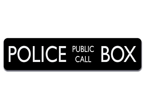 Sign Call - Police Public Call Box Aluminum Sign - 4 inch tall by 17 inch High Quality Aluminum Sign