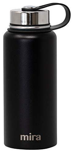MIRA 22 Oz Stainless Steel Vacuum Insulated Wide Mouth Water Bottle | Thermos Keeps Cold for 24 Hours, Hot for 12 Hours | Double Wall Powder Coated Travel Flask | Black
