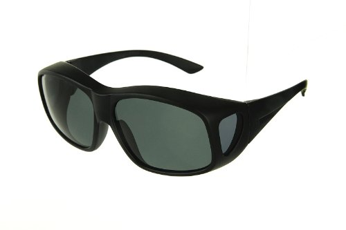 LensCovers Wear Over Prescription Glasses Sunglasses for Men and Women Large Size (BLACK) Polarized!
