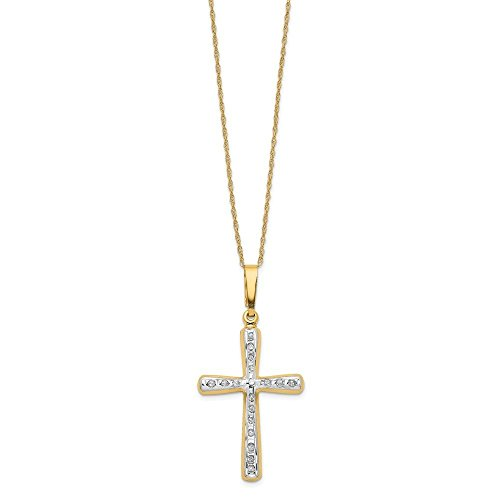 (14k Yellow Gold Diamond Fascination 18in Cross Necklace w/Gift Box (Color H-I, Clarity SI2-I1))
