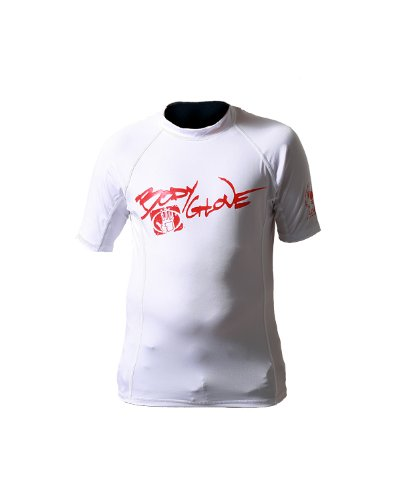 Body Glove Juniors Short Arm Lycra Rash Guard Shirt (White/Red, 8/5X)