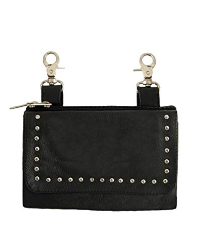 Black Biker Clip Pouch Purse with Studs, Adjustable Strap Heavy Duty Lobster Claw Clips (Fold Over Studded Flap)