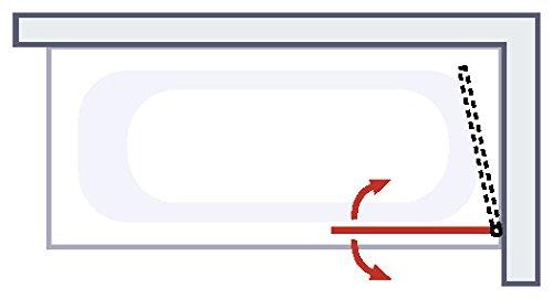paroi de Baignoire Anti calcaire Pare Baignoire 80x140 cm /écran de Baignoire 1 volet Rabattable profil/é Aspect chrom/é Version Gauche