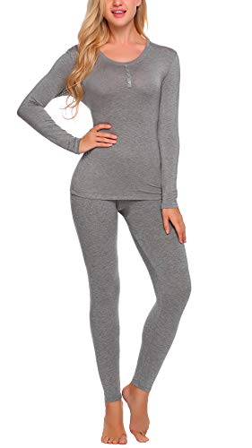 YOZLY Lightweight Thermal Underwear Womens Henley Long Johns Set Base Layer Top & Bottom S-XXL (Grey, Medium) ()