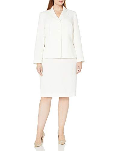 Le Suit Women's Plus Size 3 Button Vanilla Ice Skirt Suit, 14W (Ladies Suits White Church For)