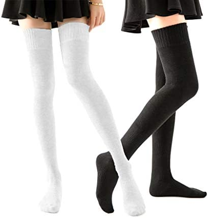 Homerit Plus Size Thigh High Socks Extra Long White Black Sock For Women Cotton Over The