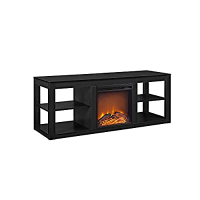 "Ameriwood Home Parsons Electric Fireplace TV Stand for TVs up to 65"", Black by Altra Furniture"