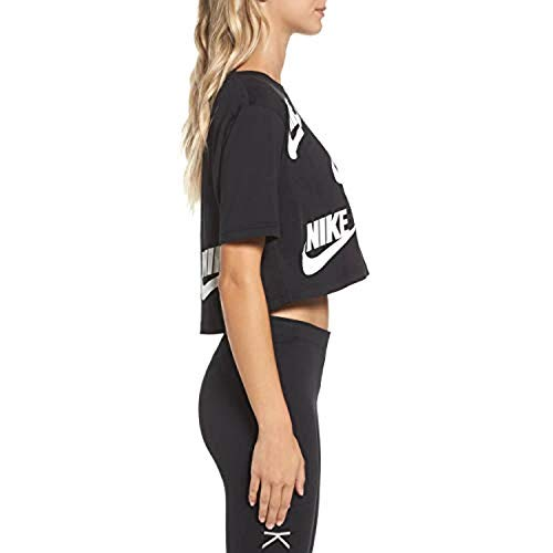 d889e95ba98 Nike Women's W NSW Futura Toss Short Sleeve Top, Black/White, X-Large:  Amazon.co.uk: Sports & Outdoors