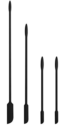 EVEREST GOOSE Mini Silicone Spatula-Makeup Spatula-4 Pack Small Silicone Spatula-Thin Spatula Set for Skinny Openings Tiny Scraper for Jar,Kitchen Bottles,Cosmetic