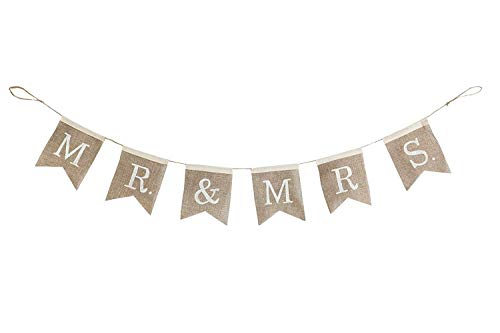 "(Cypress Home Mr. and Mrs. Burlap Wedding Bunting Banner - Engagement Party or Wedding Reception Decoration - 67""L x 0.5""W x)"