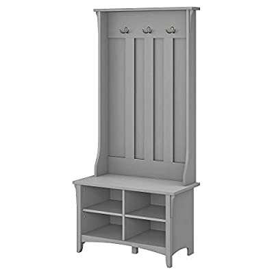 Bush Furniture Storage Shoe Bench and Hall Tree, Cape Cod Gray - 32W x 16D x 69H Hall Tree with Shoe Bench perfect for an entryway, dorm room, apartment, hallway or any home space Four open cubby shelves for organization with a spacious surface for bags or clothing Two adjustable shelves create flexibility for storing various items - hall-trees, entryway-furniture-decor, entryway-laundry-room - 31PjKOsVGHL. SS400  -