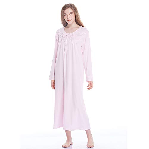 Keyocean Nightgown for Women 100% Cotton Long Sleeves Long Nightshirt, Pink
