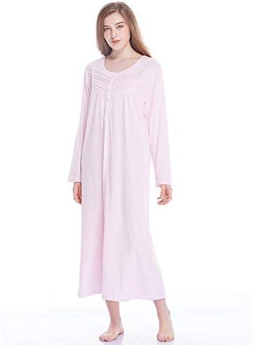 Keyocean Nightgowns for Women All Cotton Soft Lightweight Long Nightshirt Sleepwear Lounge-wear for Fall Winter