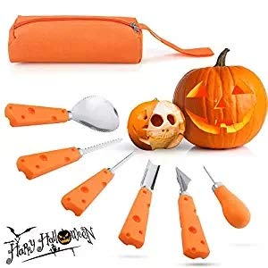 Cinsey Halloween Pumpkin Carving Tools Cinsey heavy duty Professional Stainless Steel Set (6 pieces)]()