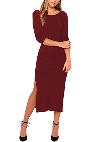 - Meenew Womens 3/4 Sleeve Backless Cocktail Party Fitted Side Slit Midi Dress Ruby XL
