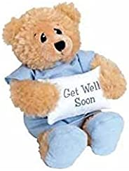 """11"""" Plush PATIENT BEAR - FEEL BETTER Gift/Wearing Blue Hospital Gown & Slippers/Holding GET WELL SOON"""