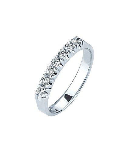 2ebdb4b9cb8303 Gioielli di Valenza Anello Veretta a 7 Pietre in Oro Bianco 18k con  Diamanti ct. 0,30: Amazon.it: Gioielli