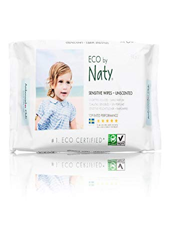 Naty Eco Sensitive Lightly Unscented Wipes - 56 per pack -- 12 packs per case.