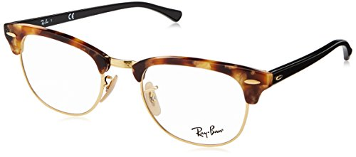 Ray-Ban RX5154 Clubmaster Square Eyeglass Frames, Brown Havana/Demo Lens, 51 mm