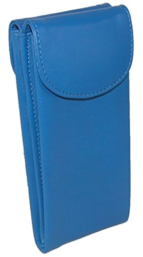 ili Womens Leather 6470 Double Eyeglass Case - Cobalt Eyeglasses Blue
