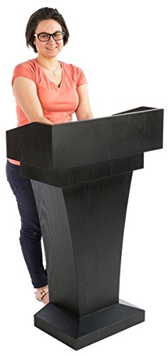 Displays2go Wood Speaking Lectern, Drawer & Storage Area, Black MDF Wood (LCTFSRSTSB) by Displays2go (Image #3)