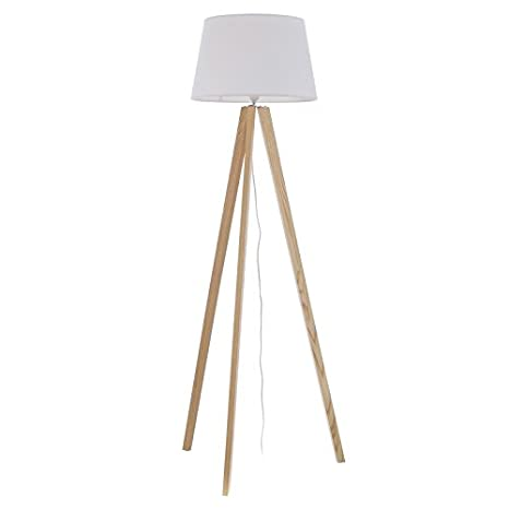 Dcasa - Lámpara de pie nórdica Blanco Madera para salón ...