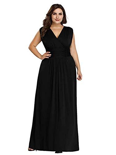 (Ever-Pretty Women's Deep V-Neck High Stretch Bridesmaid Dress Plus Size Black US20)