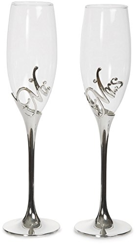 Wedding Toast (Pavilion Gift Company Glorious Occasions Mr. & Mrs. Wedding Toast Champagne Glass Flute Set, 8 oz, Silver)