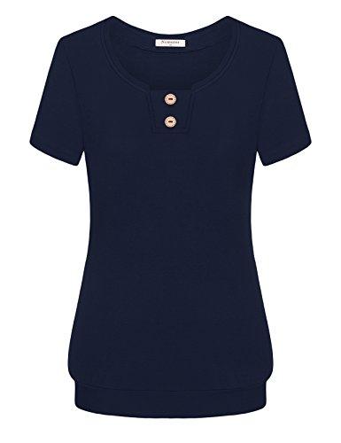 Cotton Blend Blouse (Nomorer Short Sleeve Women Tops and Blouses, Womens Crew Neck Summer T Cotton-Blend Blouse Tops (Deep Blue, M))