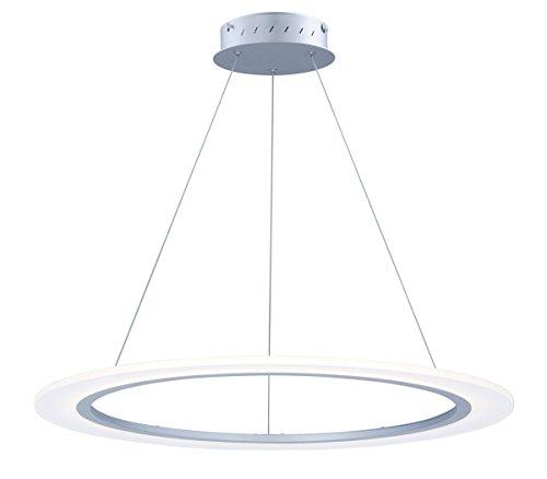 - Pendants 1 Light with Matte Silver Finish Aluminum Acrylic LED Bulb 32 inch 32 Watts