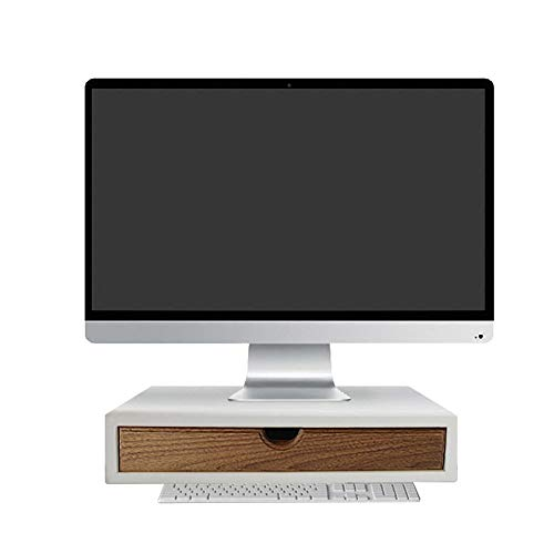 Size : 35.5x21x7.5cm DORE HOME-Monitor Stand Display Heightening Frame Solid Wood Single-story Office Computer Desk White Desktop Drawer Storage Shelf